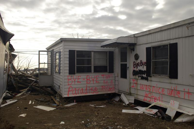 """Bye-bye paradise, it was nice while it lasted."" The Paradise Park trailer park in Highlands, NJ remains a jumble of ruined homes with little or no repair work in evidence three months after Sandy."