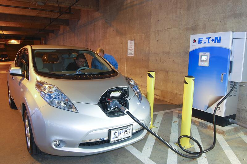 A Nissan Leaf electric car charges up.