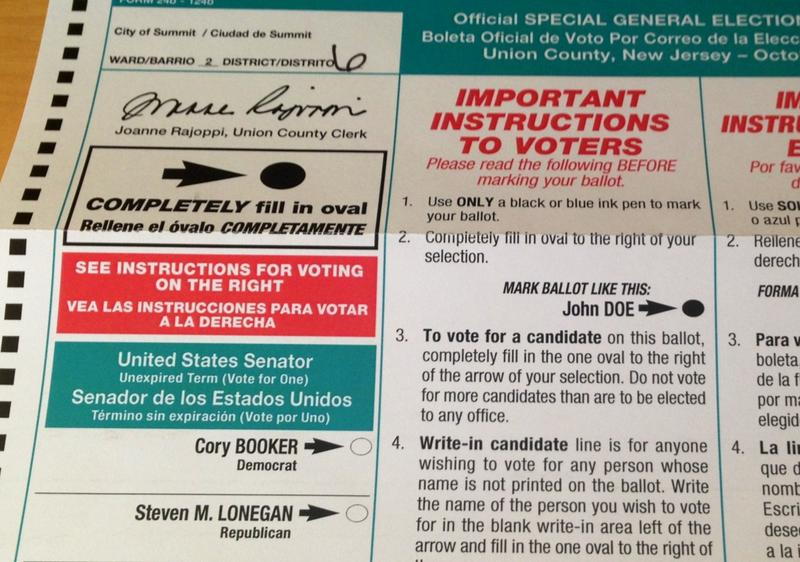 Mail in ballot for New Jersey's special Senate election.