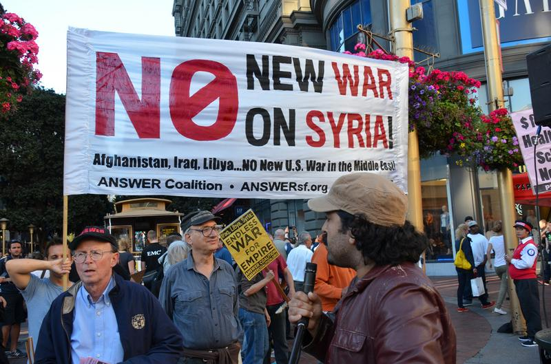 A protest against U.S. military action in Syria. San Francisco, August 29, 2013.