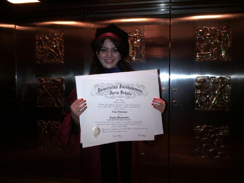 Anna Nubaryan graduated from Fordham Law School Sunday. She hopes to practice international business and trade law.