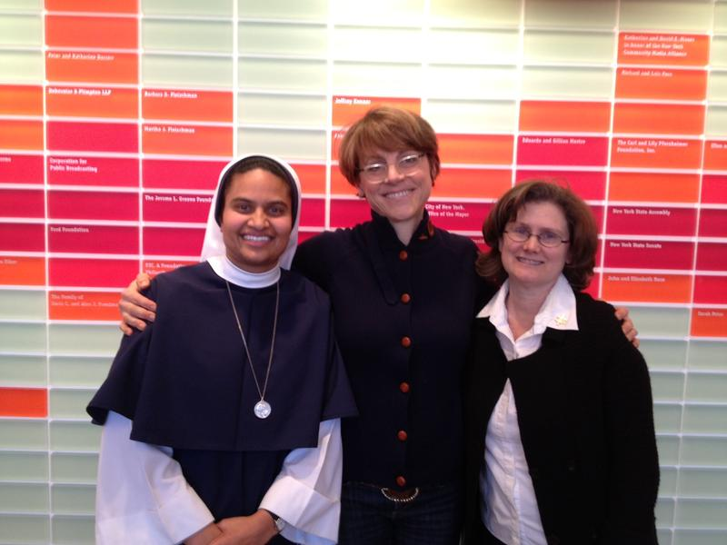 From left, Sr. John Mary, Amy Eddings, Sr. Susan Wilcox