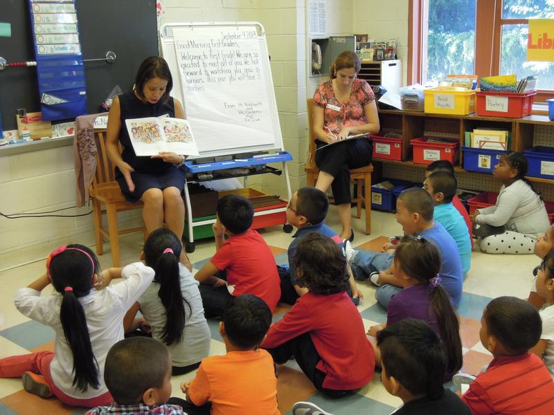 Story time in a first-grade class at P.S. 24 in Brooklyn