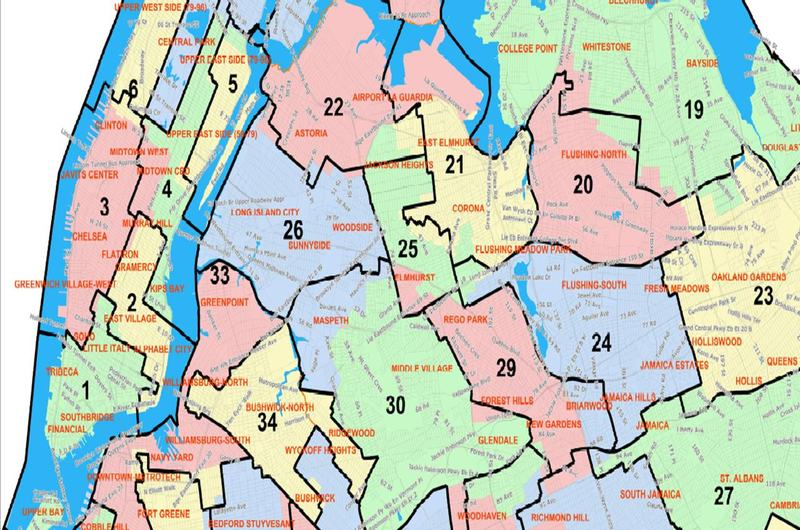 Detail of the proposed NYC City Council districts from December 2012