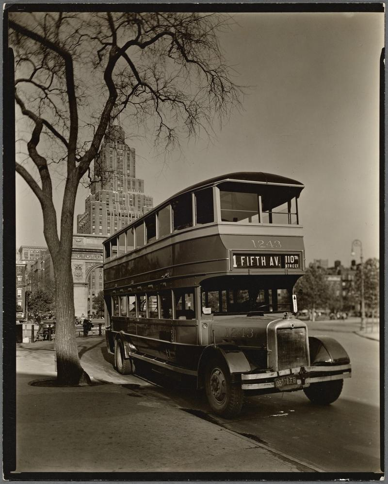 A Fifth Avenue Coach Company Bus in 1935, the same sort of bus Mrs. Bishop recommends for an excursion, in Washington Square