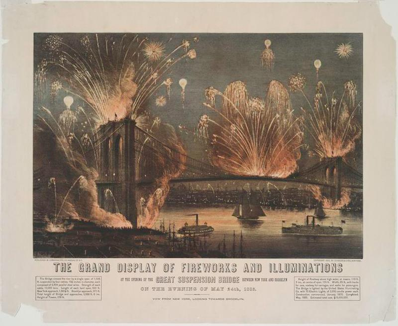 Fireworks celebrating the opening of Brooklyn Bridge on May 24, 1883.