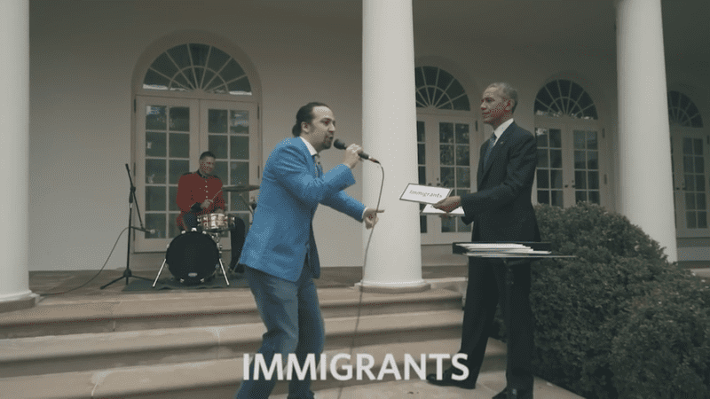 Lin-Manuel Miranda, freestyling with a little help from President Obama