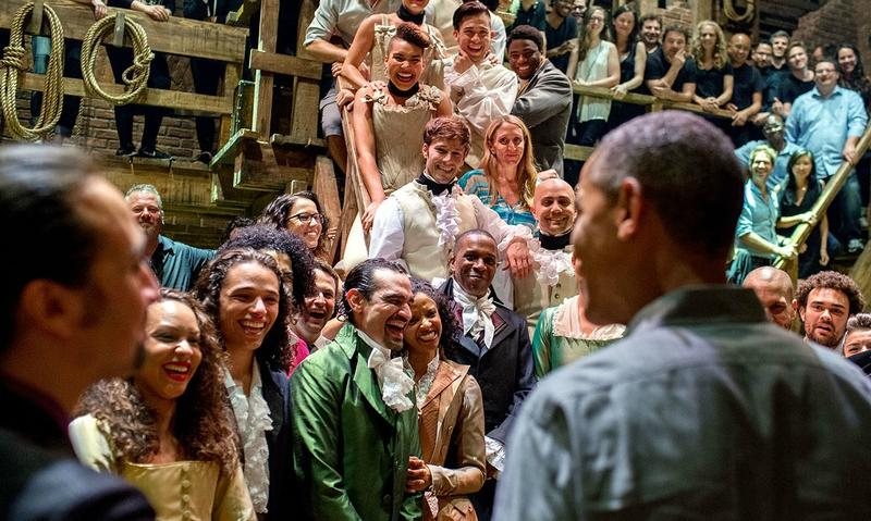 "Lin-Manuel Miranda and President Obama charm the cast of ""Hamilton"""