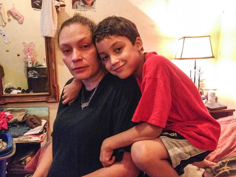 Emily Mercado and six-year-old Jordan, mother and brother of Ramsey Orta, at their home on Staten Island