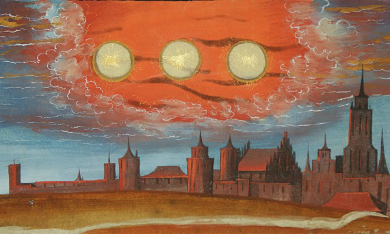A detail from a page from the 16th century <em>Augsbuerger Wunderzeichenbuch</em> (or the Augsburch Miracles Book) depicting the sun divided into three
