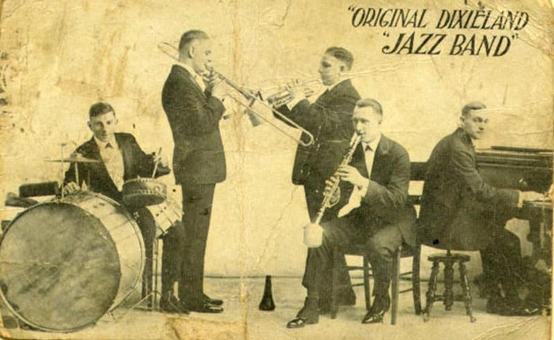 Original Dixieland Jazz Band. Scanned by Infrogmation from original 1918 promotional postcard while the band was playing at Reisenweber's Cafe in New York City.