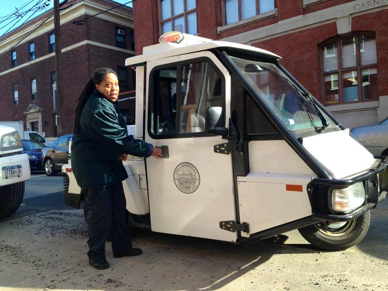 The 37 Hoboken Parking Enforcment officers drive ahead of the cleaning trucks ticketing cars illegally parked duirng street sweeping.