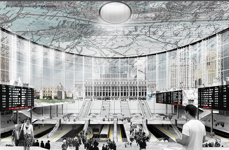 The entrance of Penn Station under the proposed plan. The Farley building is visible beyond the 8th Ave.