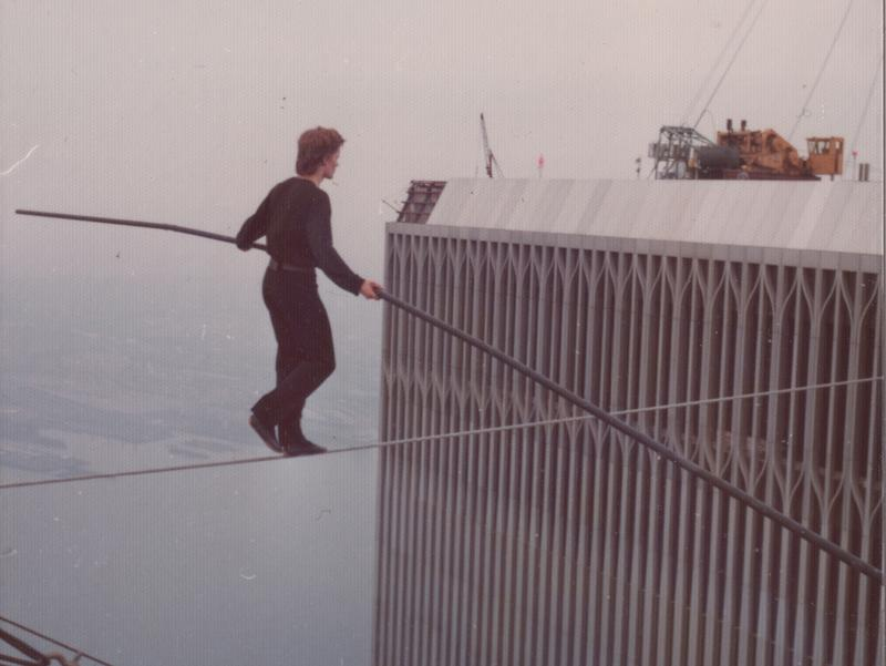Philippe Petit in his first World Trade Center crossing.