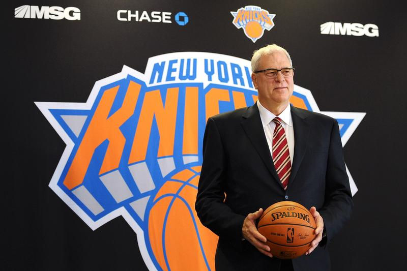 Phil Jackson stands for photos during his introductory press conference as President of the New York Knicks at Madison Square Garden on March 18, 2014