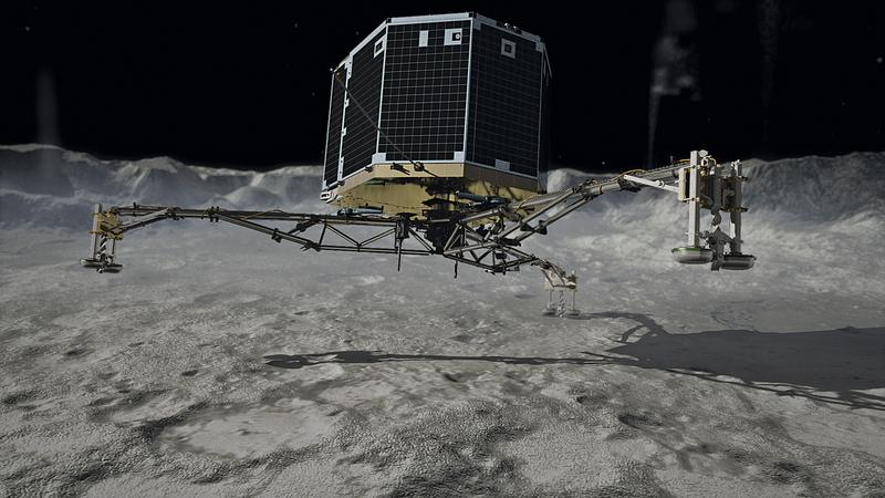 Artist depiction of Philae touching down on the comet 67P/Churyumov-Gerasimenko