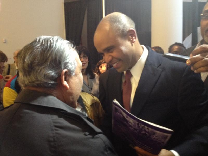 Adolfo Carrion greets supporters after announcing his mayoral run in the Bronx.
