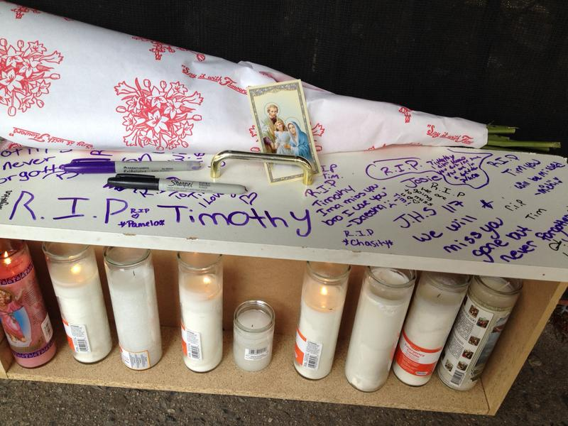 A memorial outside IS 117 for 14-year-old Timothy Crump