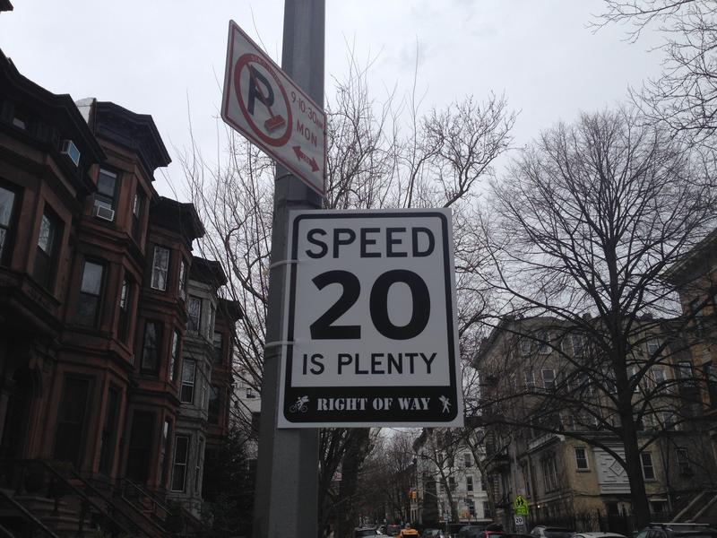 An unofficial speed limit sign in Park Slope.