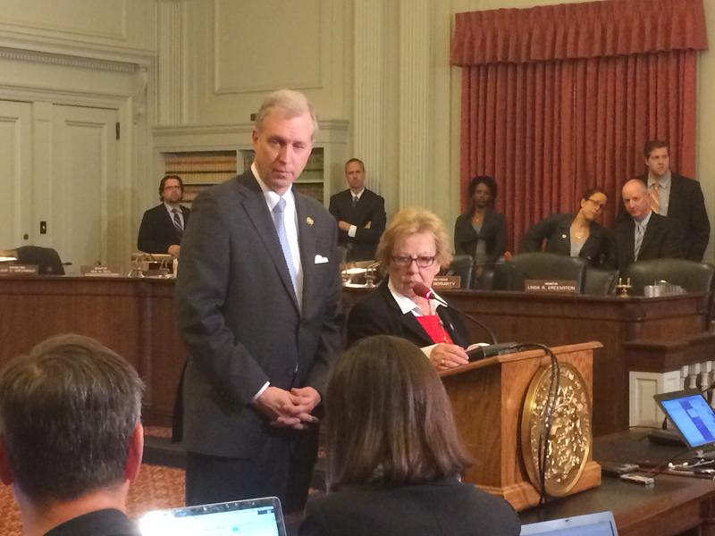 Assemblyman John Wisniewski and Sen. Loretta Weinberg of New Jersey talk to reporters after a Bridgegate investigative committee hearing.