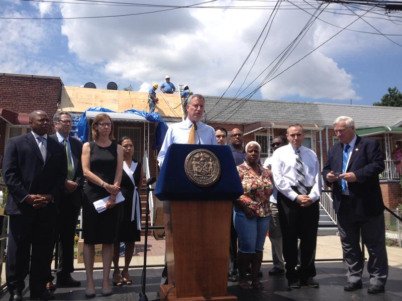 Mayor Bill de Blasio gives Build it Back update in Brooklyn on July 17, 2014
