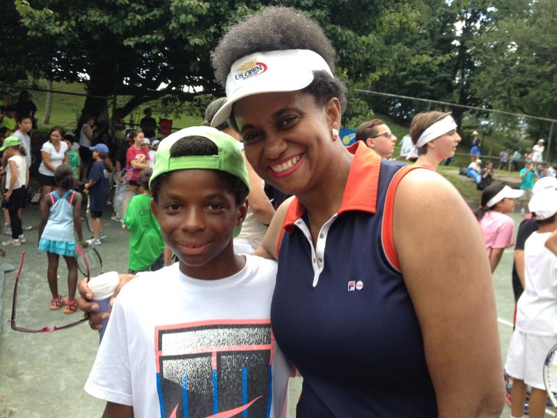 Mavis Fowler-Williams with her son Takashi at Central Park tennis courts