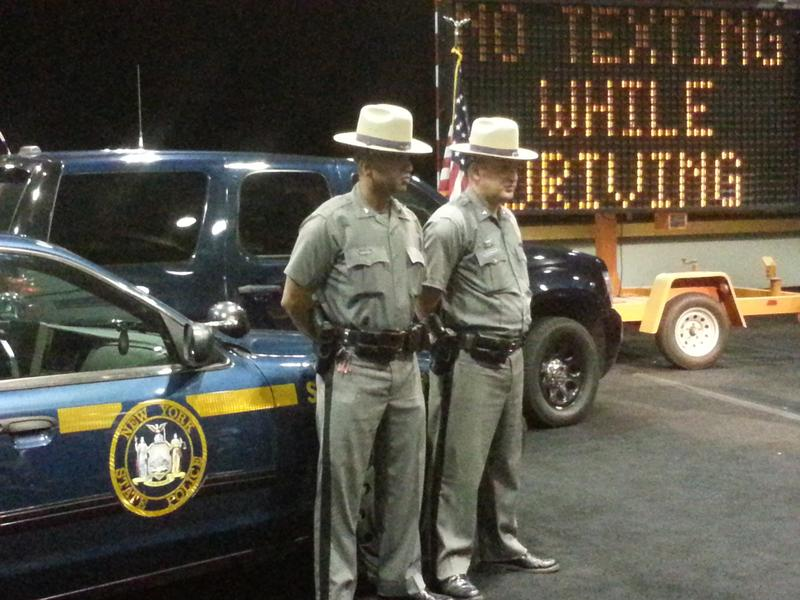 NY State Troopers show off the vehicles they'll use to crack down on distracted driving.