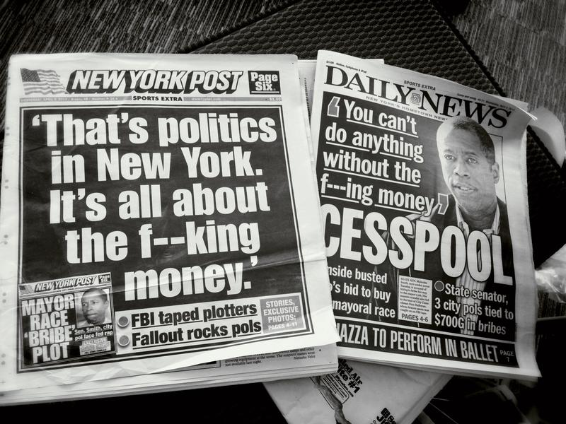 Cover of the New York Post and Daily News the day after Malcolm Smith and Dan Halloran were arrested on charges of corruption, including trying to fix the NY mayor's race