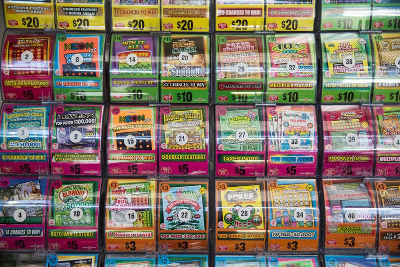 Scratch Off games for sale with PowerBall tickets at Best Beer, Wine and Deli in Gaithersburg, Md., USA on January 11, 2015.