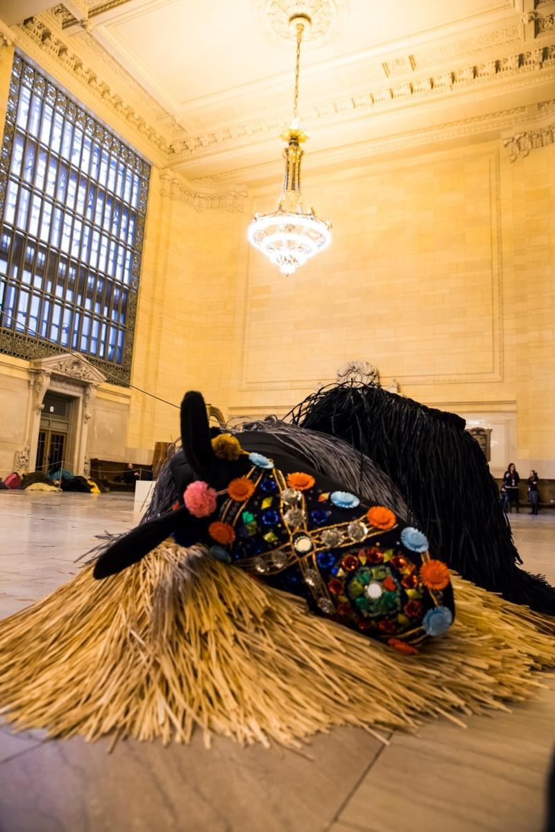Nick Cave horse, at rest in Grand Central Station's Vanderbilt Hall