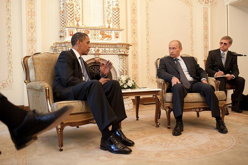 President Barack Obama meets with President Vladimir Putin at his dacha outside Moscow, Russia, July 7, 2009.