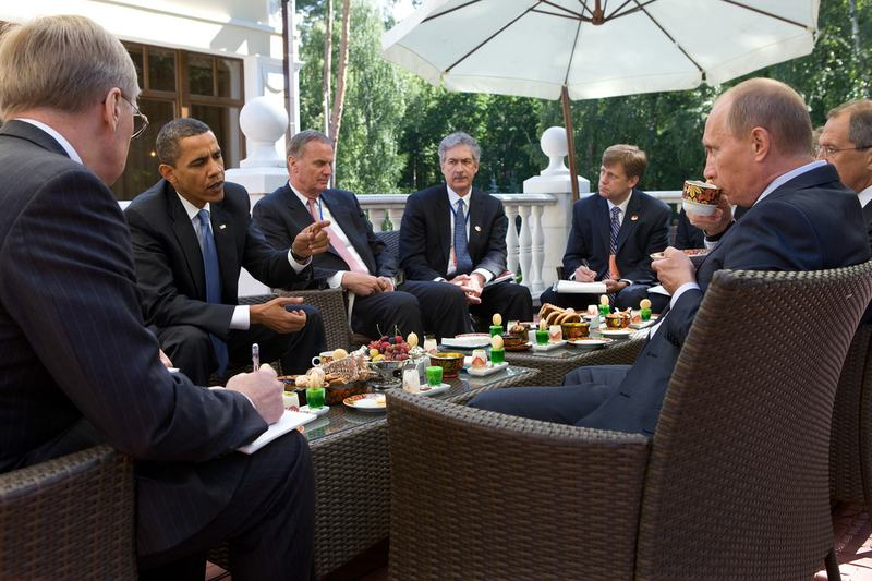 President Barack Obama meeting with Russia President Vladimir Putin at the White House. July 7, 2009