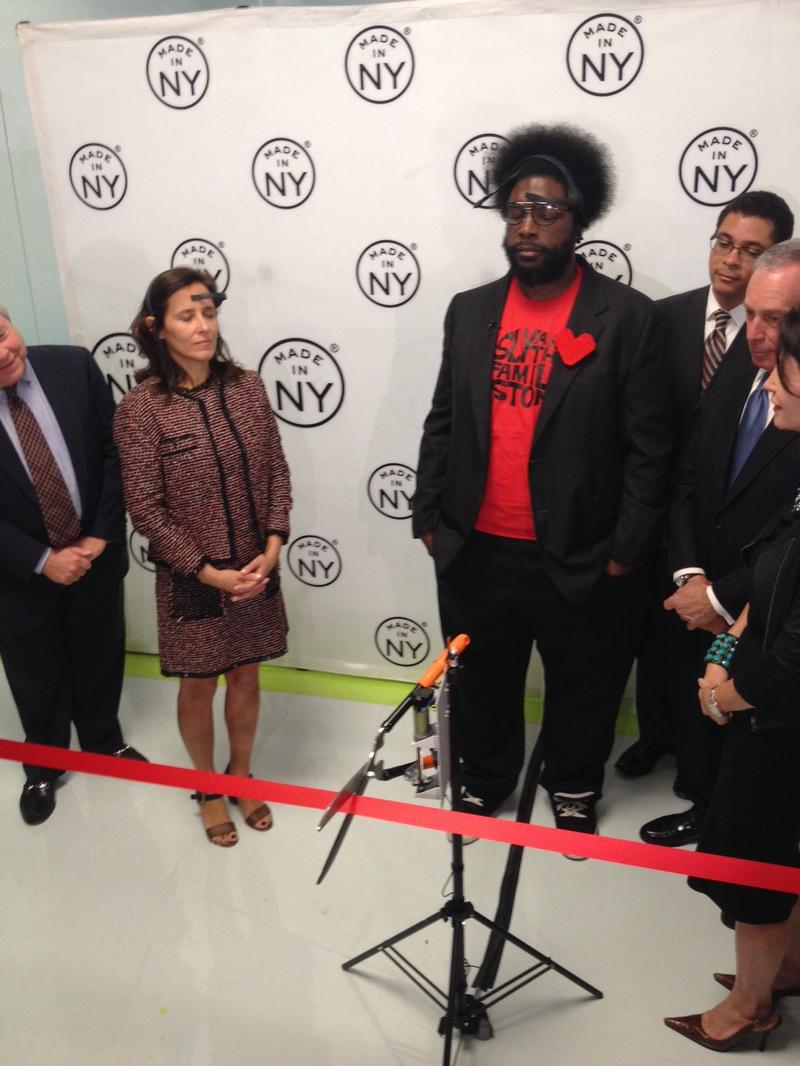Roots drummer Questlove is the first artist-in-residence at the Made in New York Media Center in DUMBO. Here he uses some special headgear to cut a ribbon for the center's launch with his mind.