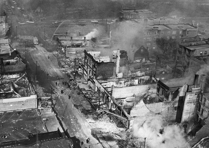 The west side of Chicago on fire during riots following the assassination of civil rights leader Martin Luther King, Chicago, Illinois, April 1968.