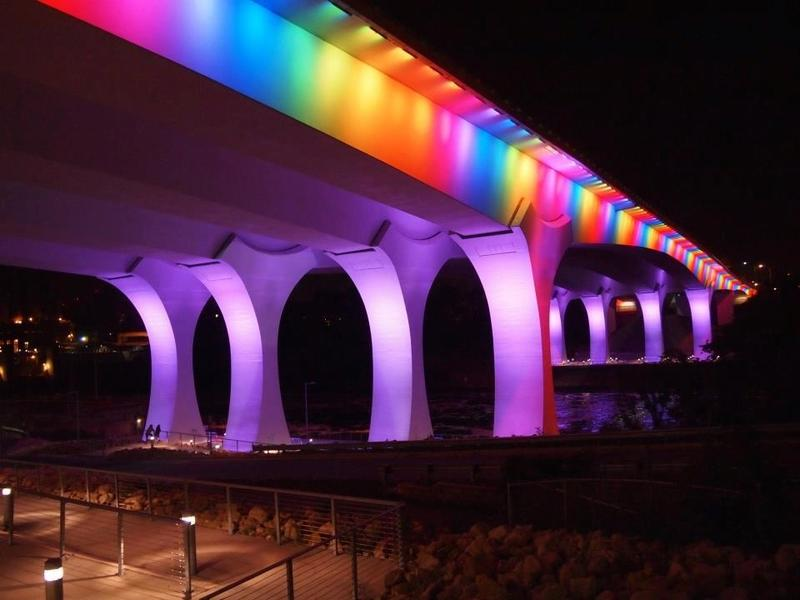 The I-35 bridge in Minnesota, lit up to celebrate the passage of marriage equality legislation in Minnesota