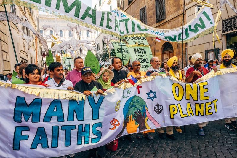 Rabbi Lawrence Troster (4th right) at a recent interfaith rally in Rome