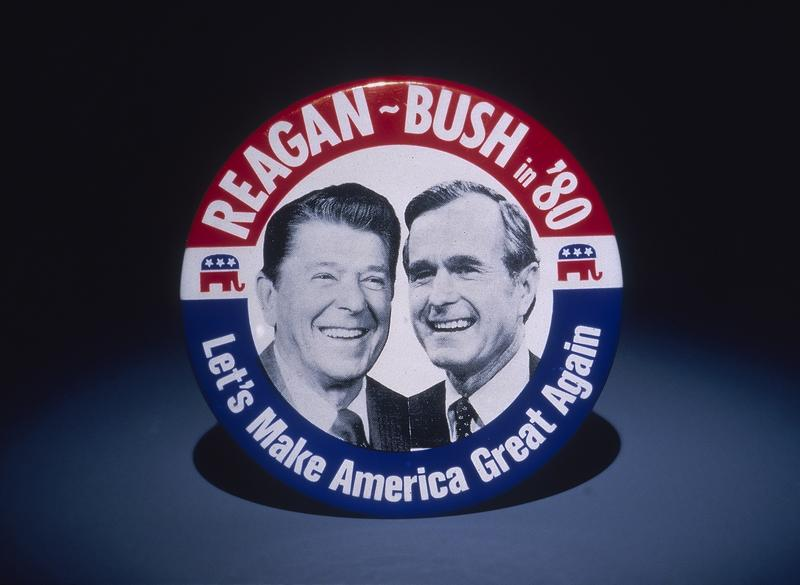 A badge for the 1980 presidential Election, featuring Ronald Reagan (1911-2004) and George Bush.