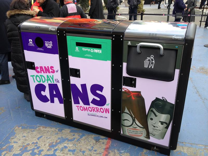 Solar-powered trash and recycling compactor in Times Square