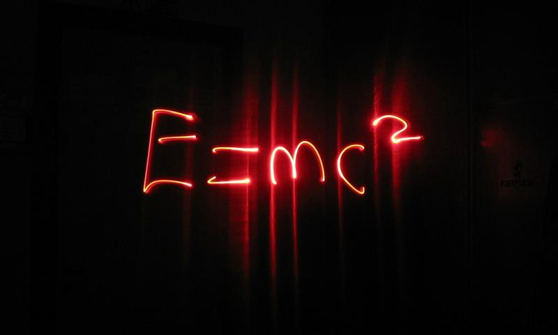 Einstein's special theory of relativity, energy equals mass times the speed of light squared