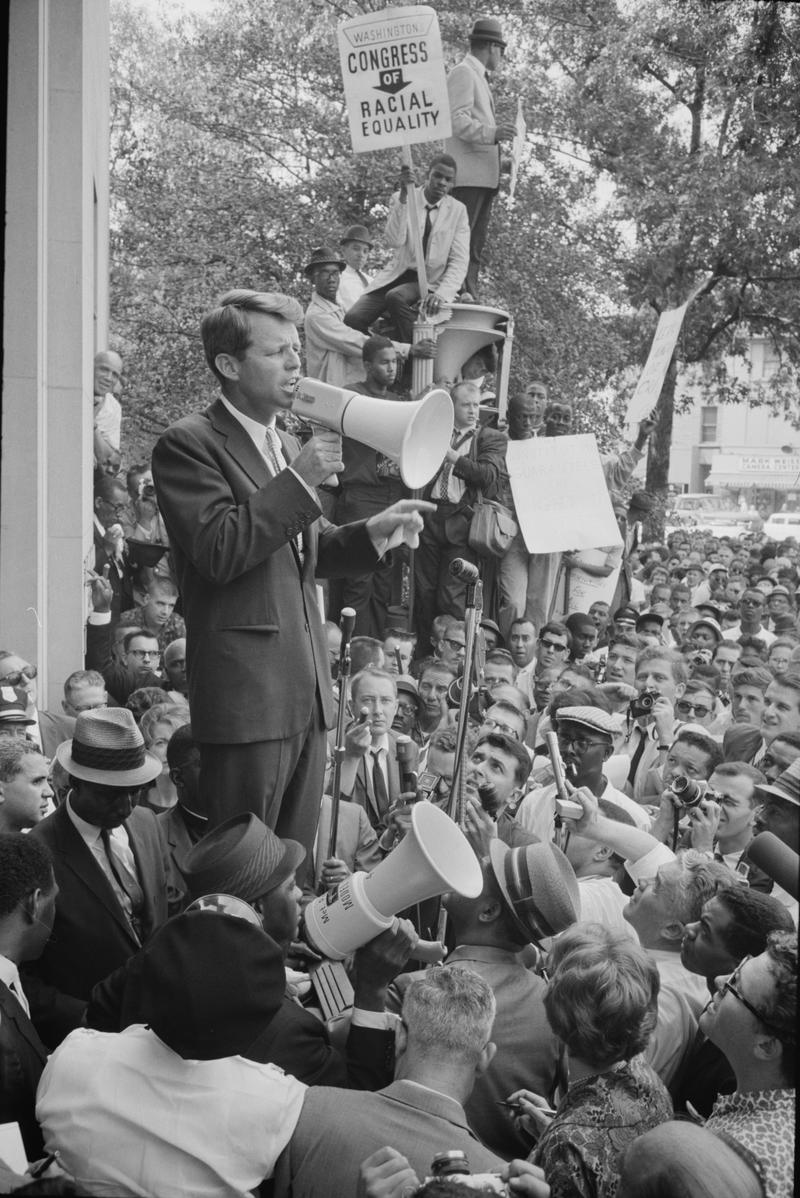 Robert F. Kennedy speaking before a crowd, June 14, 1963.