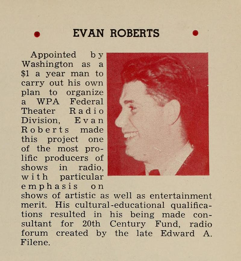 Evan Roberts from the 1938 Radio Annual.