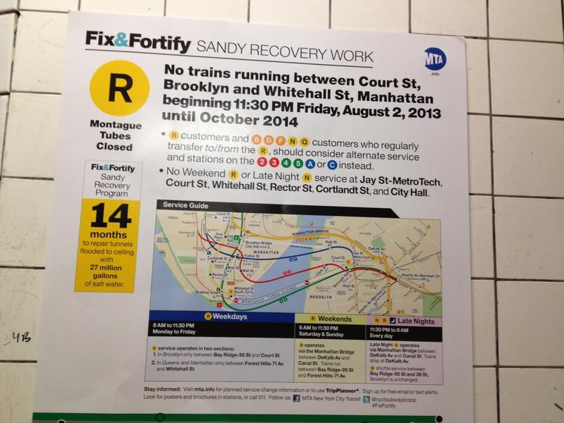 R train outage poster