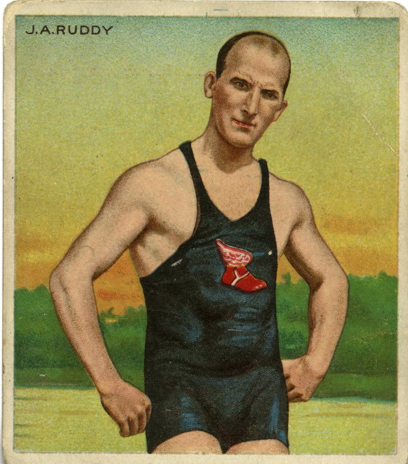 Olympian and WNYC host Joe Ruddy strikes a pose on an old cigarette card.