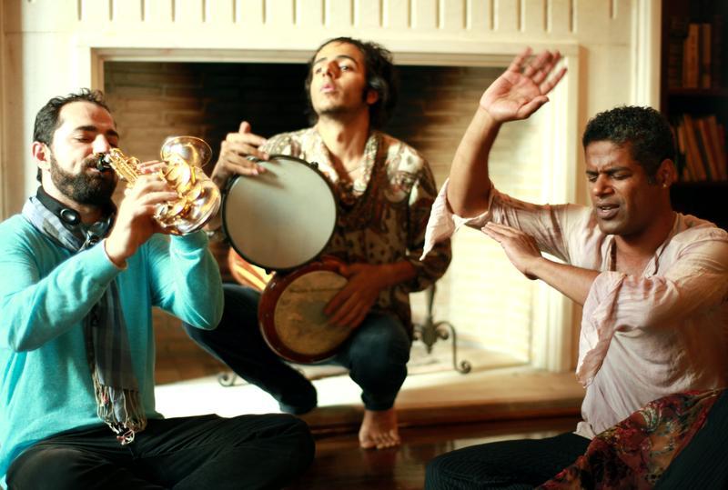 Basel Rajoub, saxophone; Naghib Shanbehzadeh, percussion;  Saeid Shanbehzadeh, neyanban (Iranian bagpipe)
