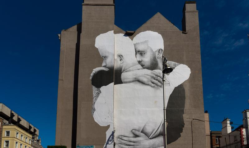 """Same-Sex Marriage"" by Joe Caslin was installed overnight on a wall at the Dame Street end of South Great George's Street in Ireland."