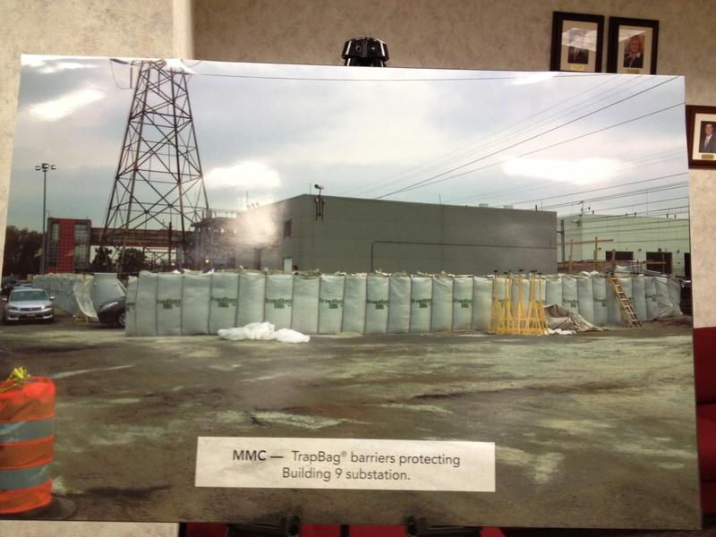A photo of sandbags surrounding electrical equipment at NJ Transit's Meadows Maintenance Complex in Kearny, NJ