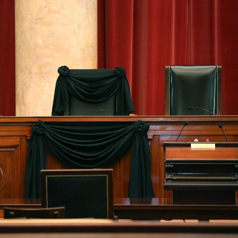 Justice Scalia's seat, draped in black.