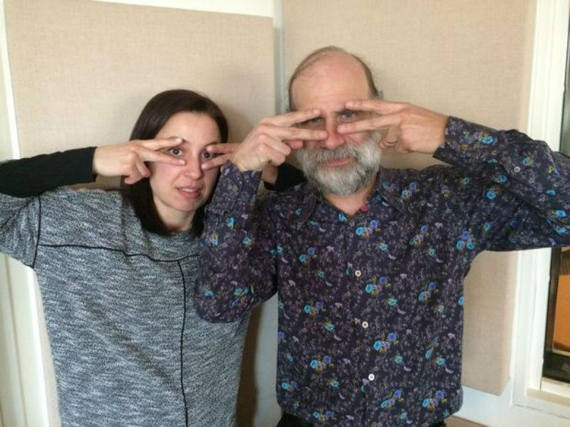Manoush Zomorodi and Bruce Schneier, surveilling.