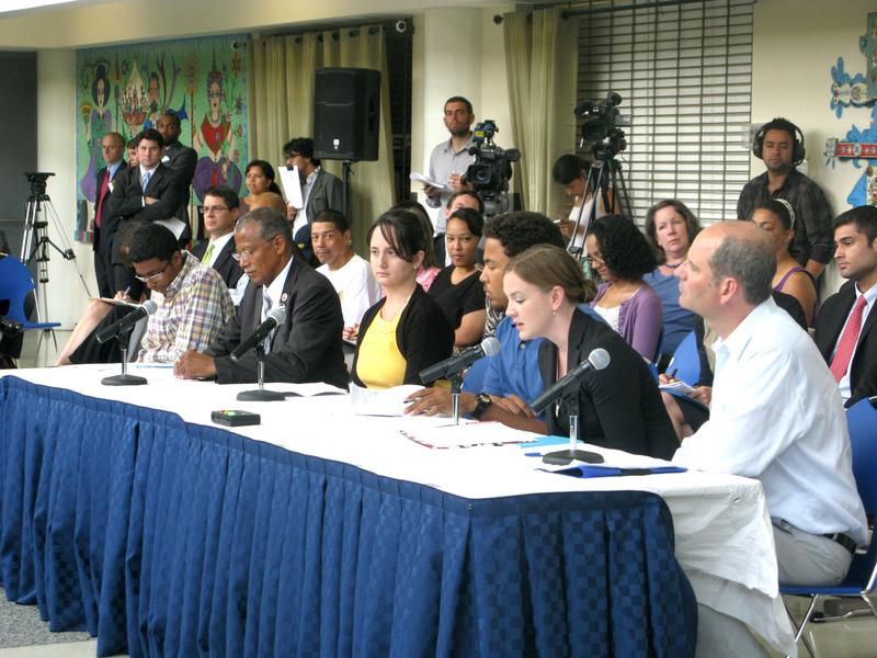 A panel testifies before the New York Education Reform Commission.