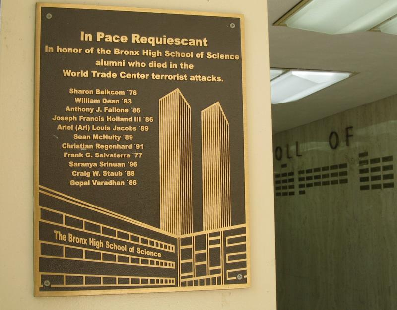 September 11th memorial plaque at Bronx Science High School